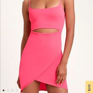 Lulus Cutout On The Town Hot pink Bodycon Dress